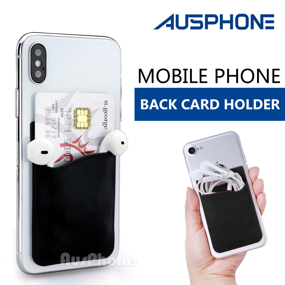 pretty nice 1f36a f9269 Details about Silicone Credit Card Holder Cell Phone Wallet Pocket Sticker  Adhesive Pouch Case