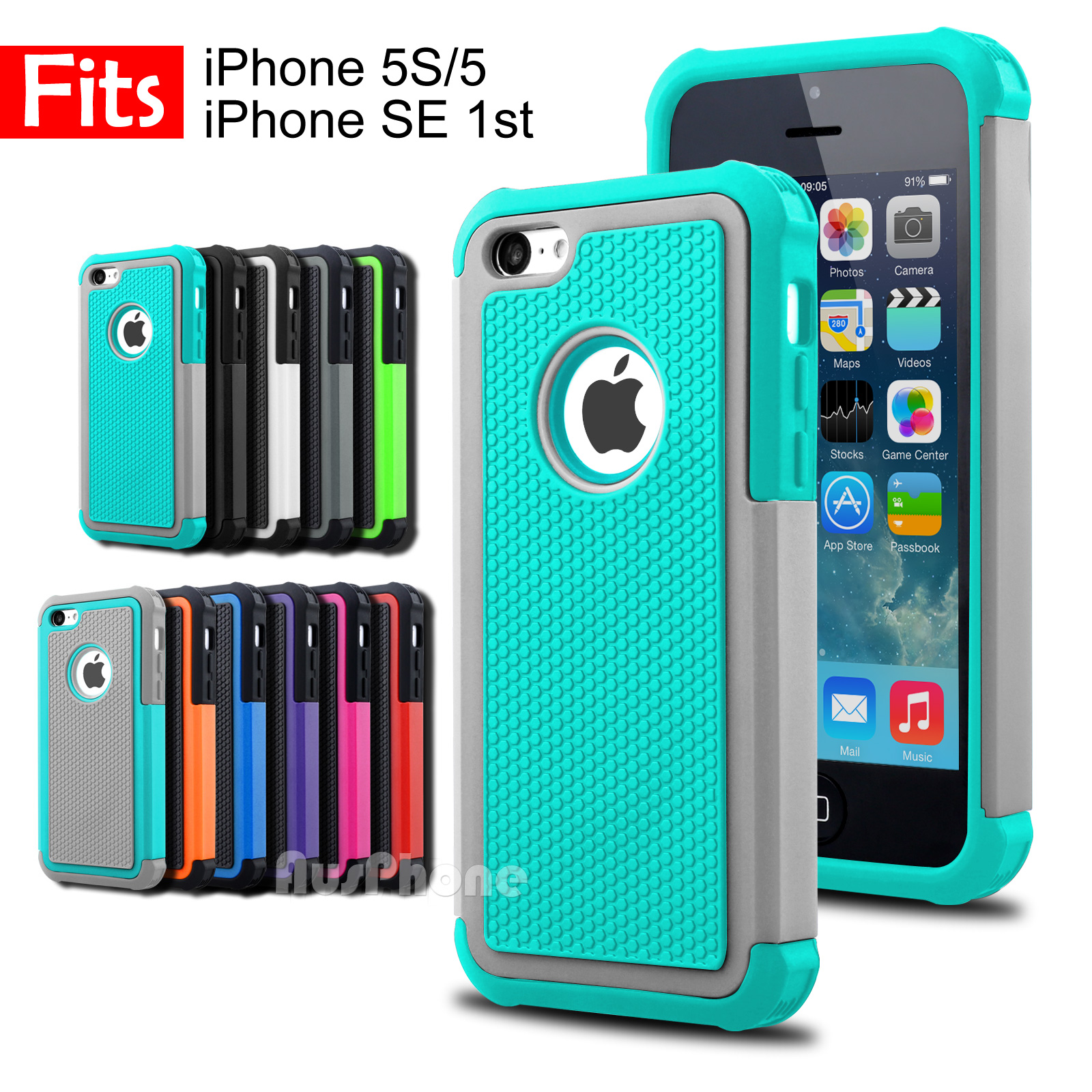 promo code 088ce d0675 Details about Shockproof Heavy Duty Silicone Hard Tough Cover Case for  Apple iPhone SE 5S 5