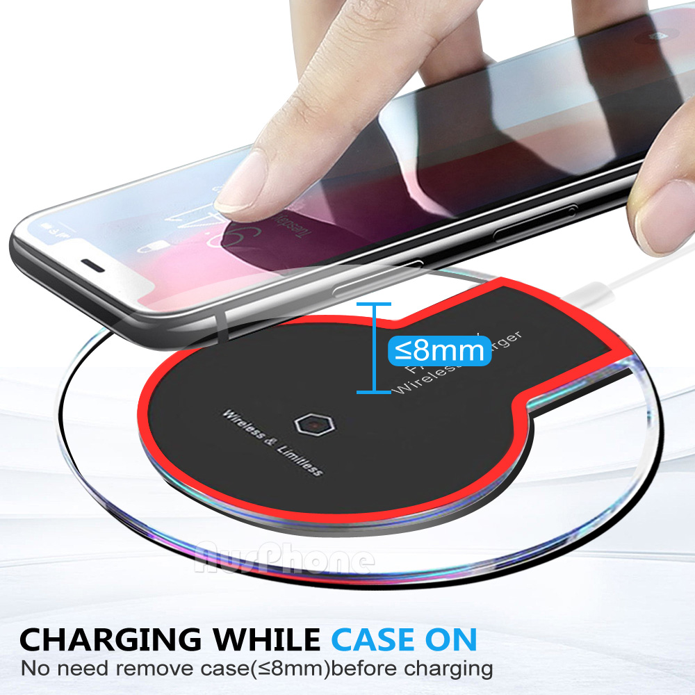 iphone 8 plus xs max xr qi wireless charger charging pad. Black Bedroom Furniture Sets. Home Design Ideas
