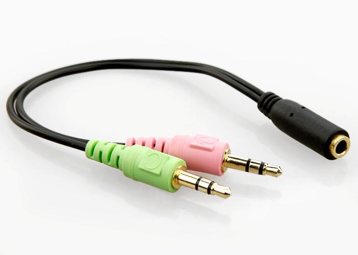 aux audio mic splitter cable earphone headphone adapter female to 2 male 6630597735494 ebay. Black Bedroom Furniture Sets. Home Design Ideas