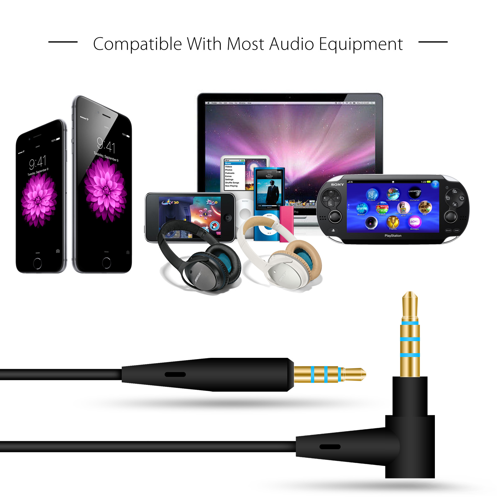 Details about Cable Remote Mic For Bose QuietComfort 25 35 QC25 QC35  Headphone Android Phone