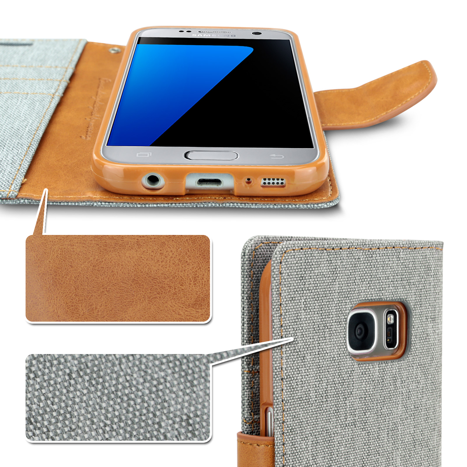 Samsung S7 Edge S5 Mercury Leather Card Wallet Case Cover Goospery Galaxy S8 Plus Canvas Diary Gray For