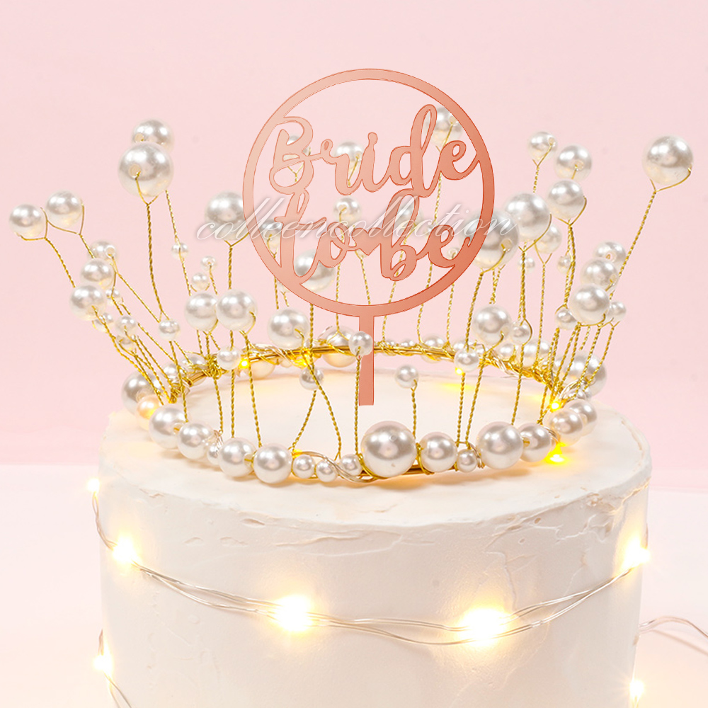 Bride To Be Acrylic Mirror Rose Gold Cake Topper Hen Parties Event