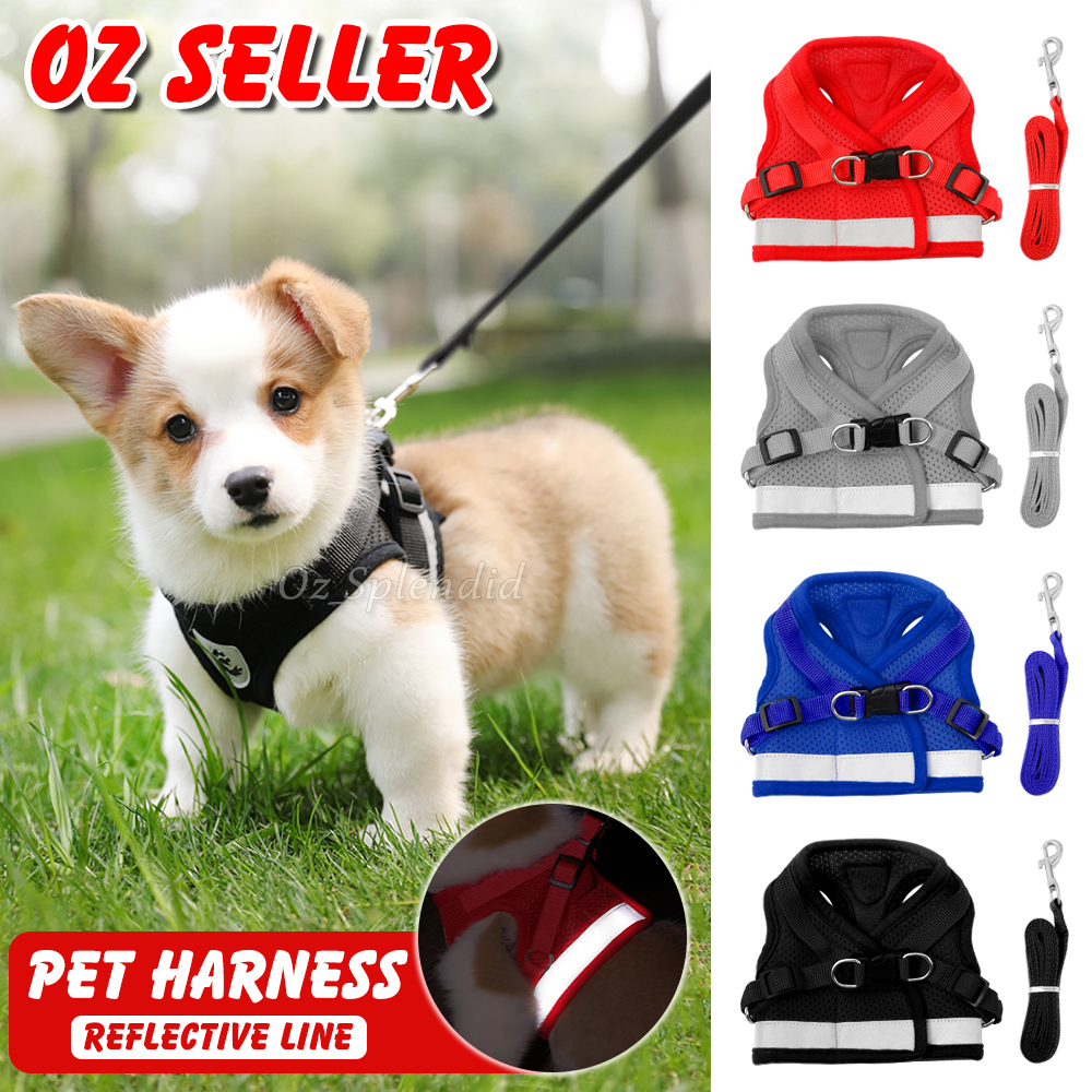 Reflective Dog Cat Pet Harness Leash Puppy Soft Adjustable Vest Mesh Clothes AU
