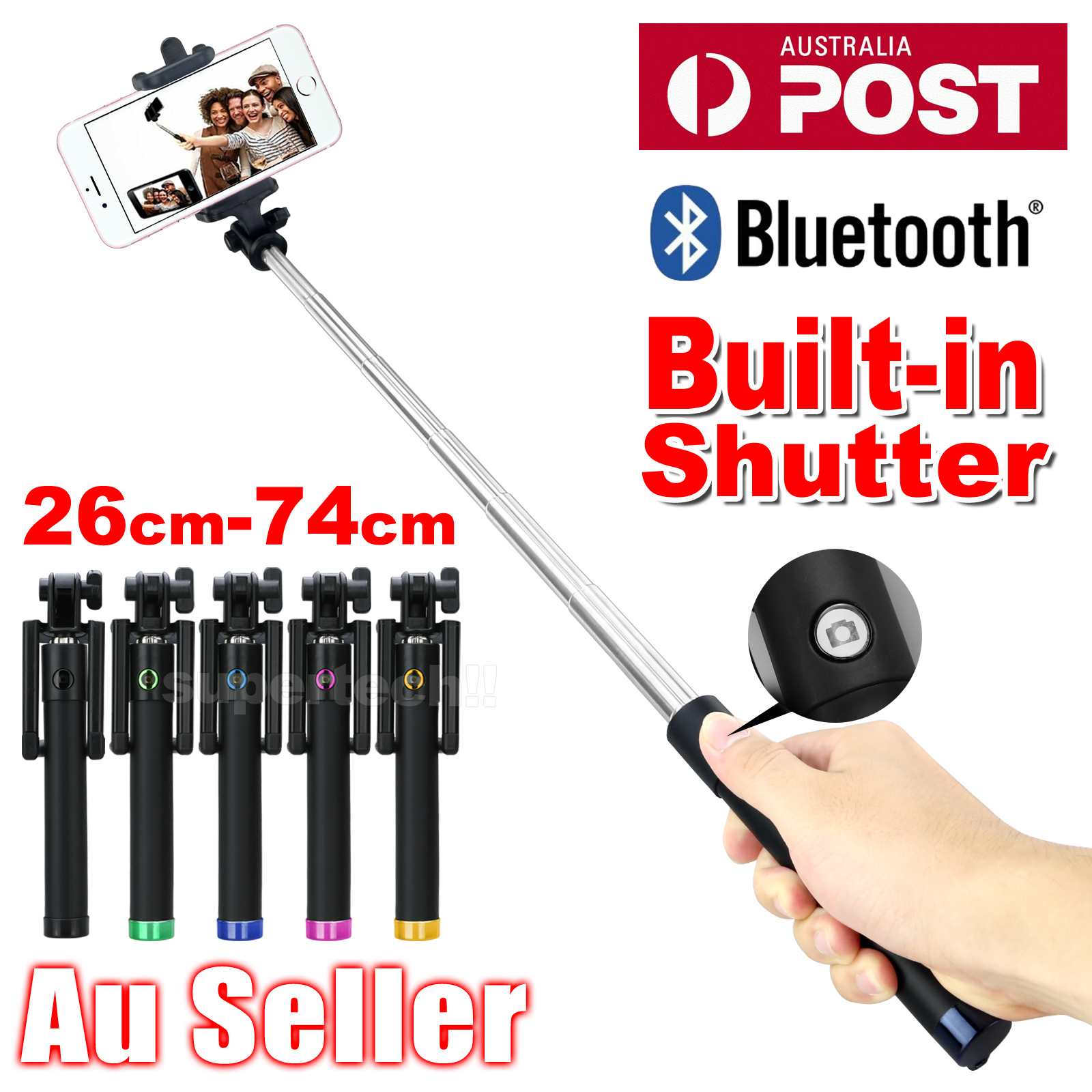 bluetooth extendable handheld remote selfie stick monopod for samsung iphone x 8 ebay. Black Bedroom Furniture Sets. Home Design Ideas