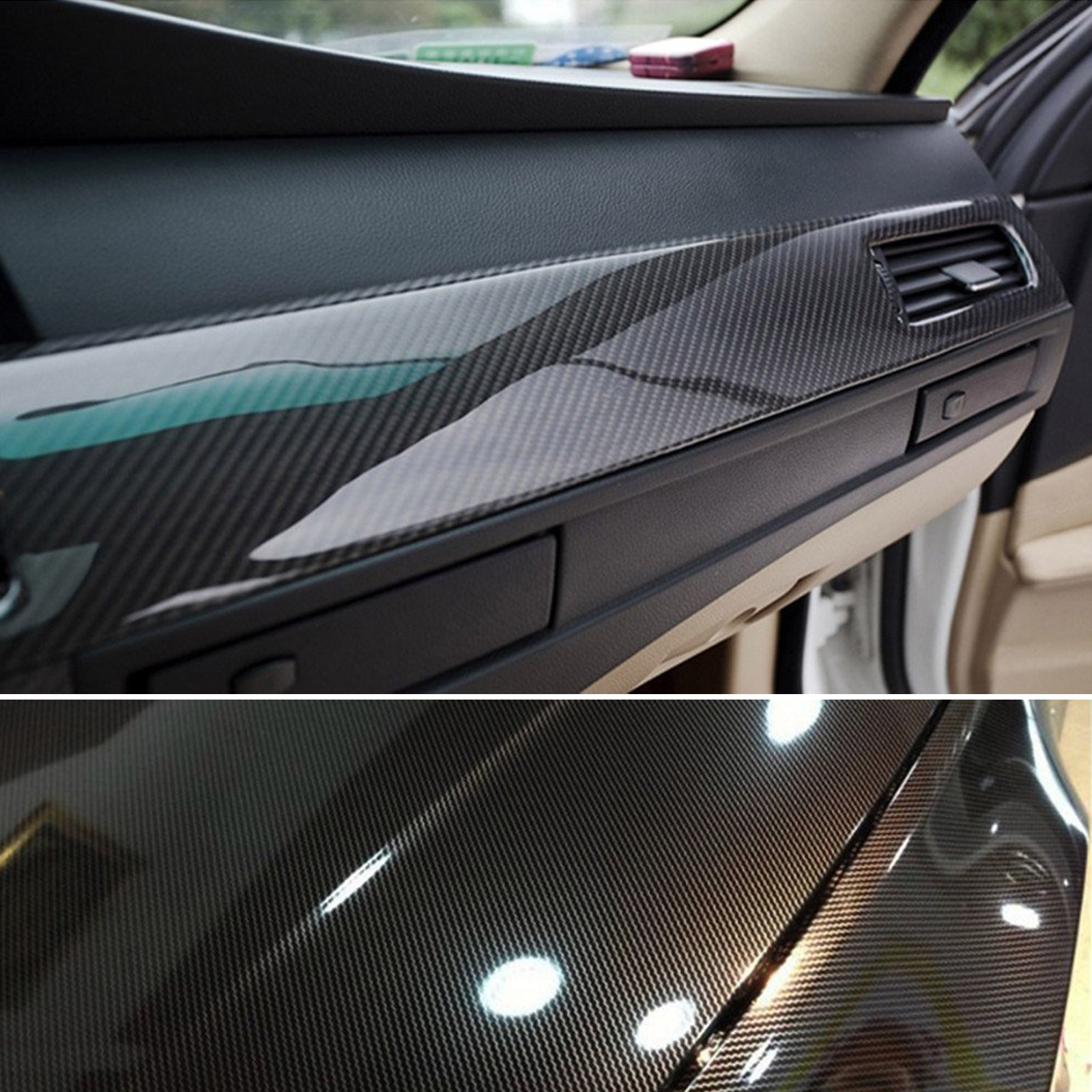 gloss black 5d carbon fiber 50 x 151cm vinyl car phone laptop wrap sticker film ebay. Black Bedroom Furniture Sets. Home Design Ideas