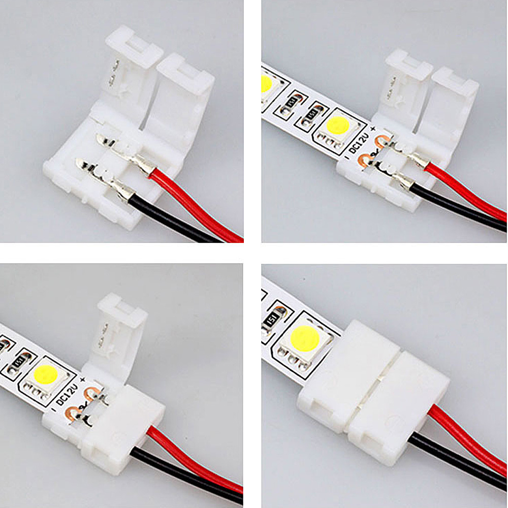 10x led strip light connector smd 3528 3014 single 2 wire 8mm pcb 10x led strip light connector smd 3528 3014 single 2 wire 8mm pcb board adapter aloadofball Images