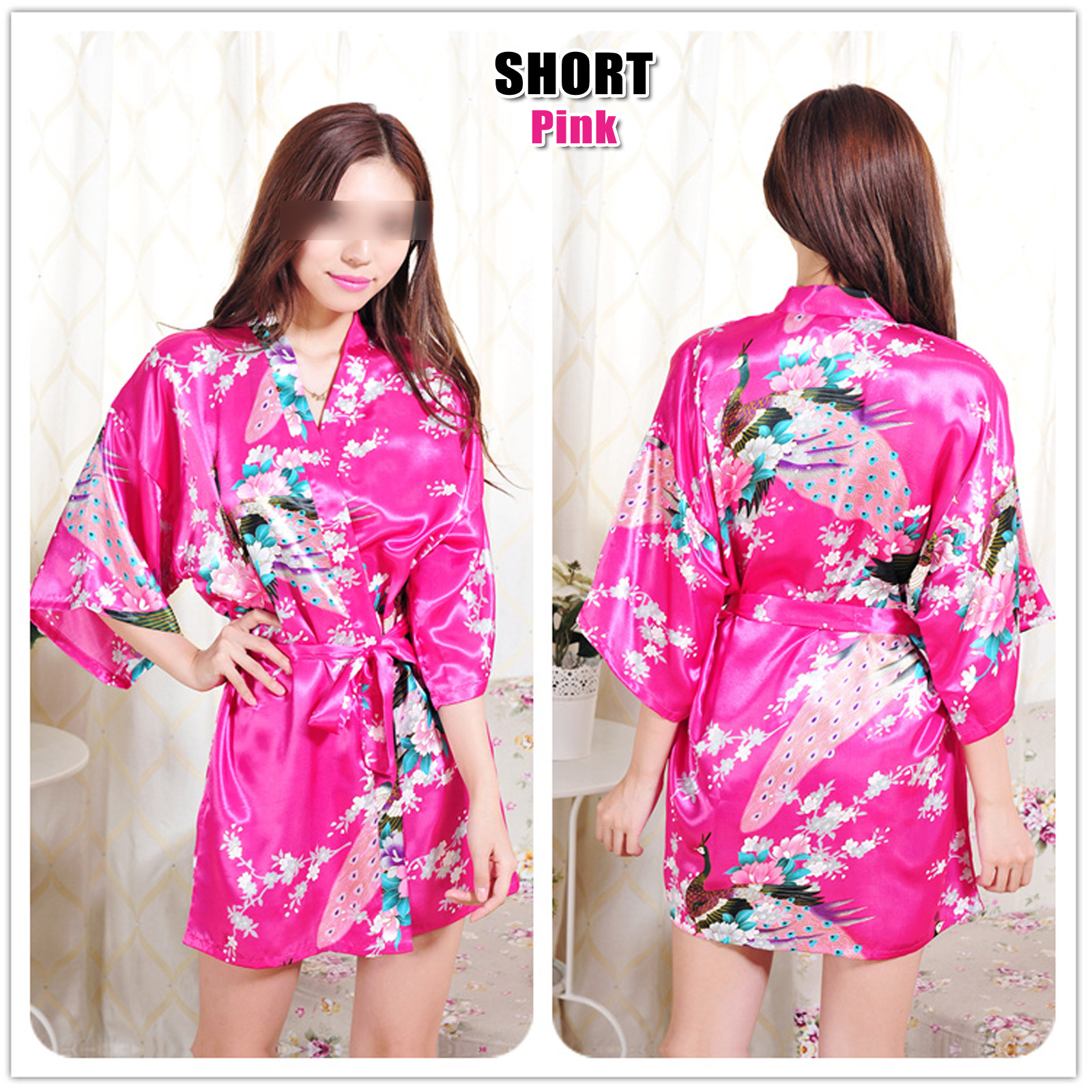 Details about FLORAL SATIN ROBE Kimono Dressing Gown Vintage Wedding Bride Bridesmaid Party