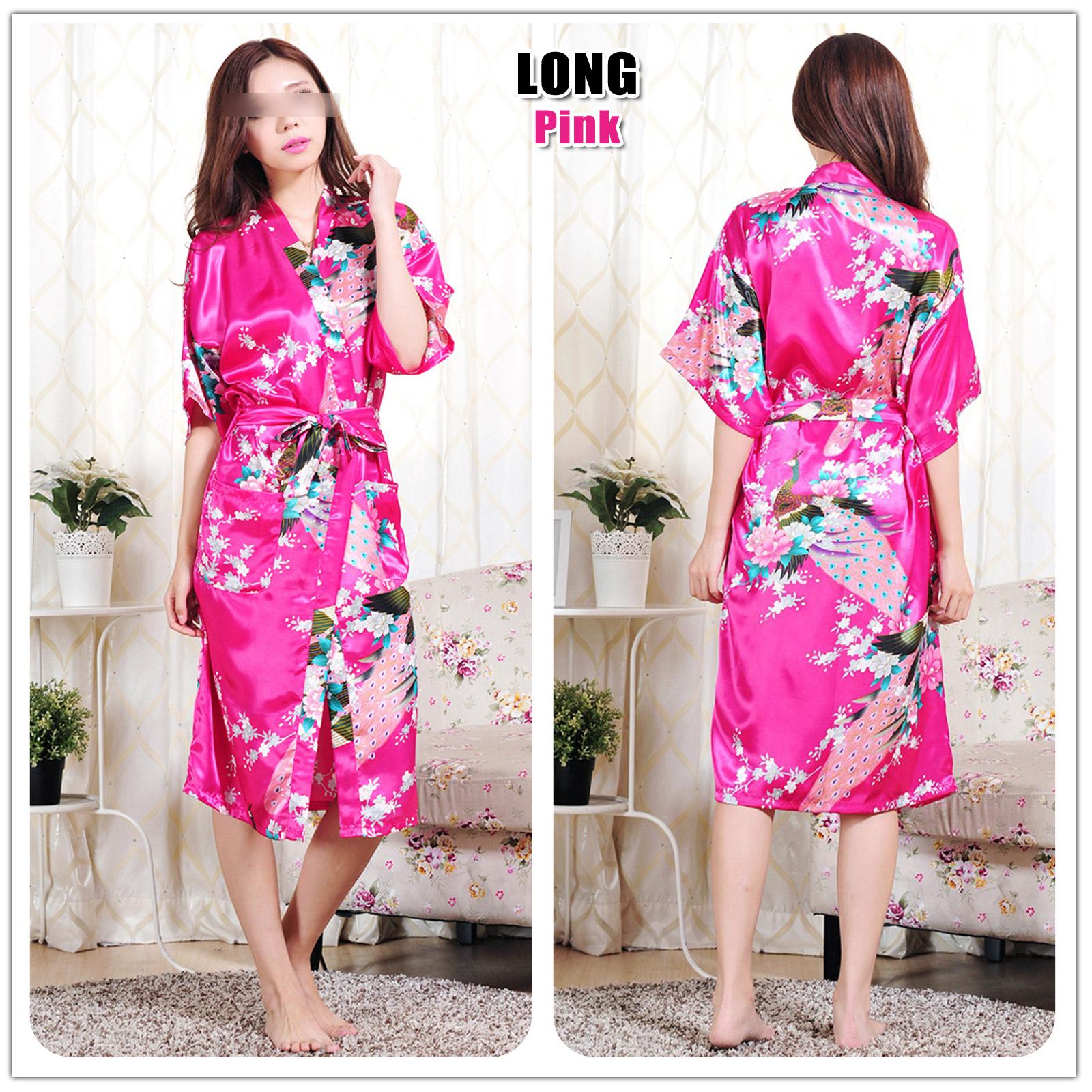 FLORAL SATIN ROBE Kimono Dressing Gown Sleepwear Wedding Bride ...