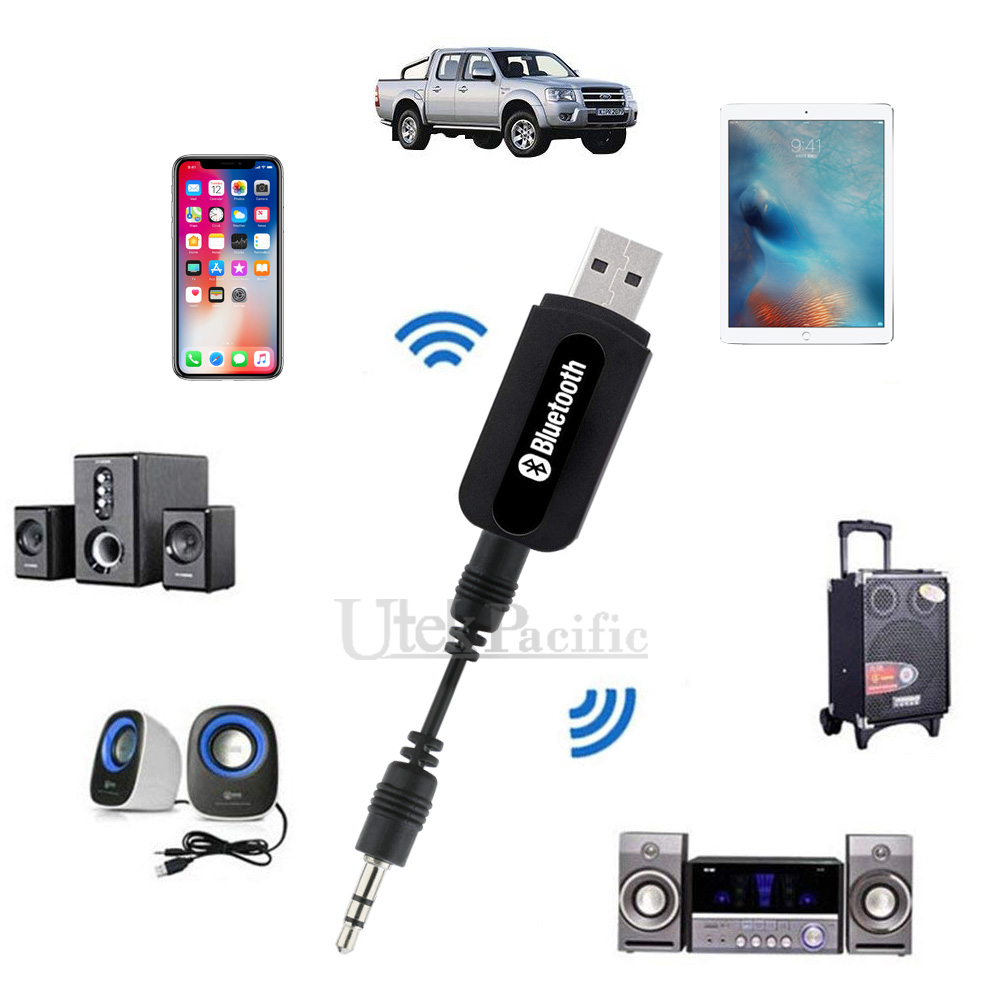 2x Wireless Bluetooth 3.5mm Audio USB Receiver Adapter Music Dongle A2DP Car AUX